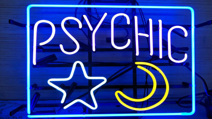 Psychic Neon Sign with Star and Moon