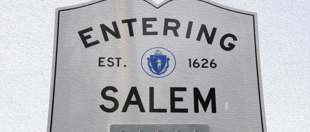 Entering Salem Road Sign, Massachusetts, USA