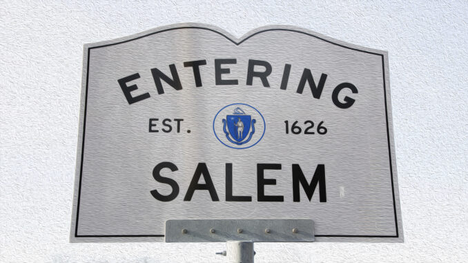 Entering Salem Road Sign, Massachusetts, USA