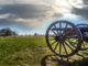 Civil war canon on the Gettysburg Battlefield near sunset