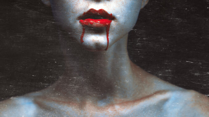 Zombie vampire woman with bloody lips. Fashion glamour halloween art design concept with copy space and scratches
